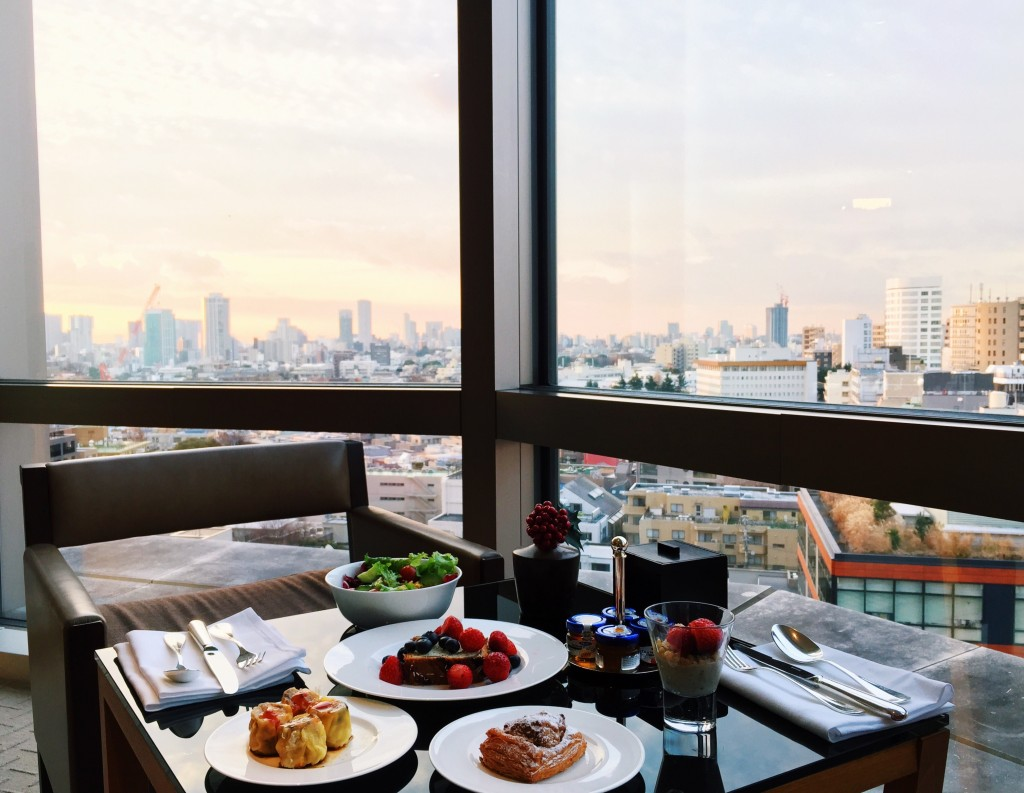 Breakfast + Sunrise view from our hotel (Grand Hyatt in Roppongi)