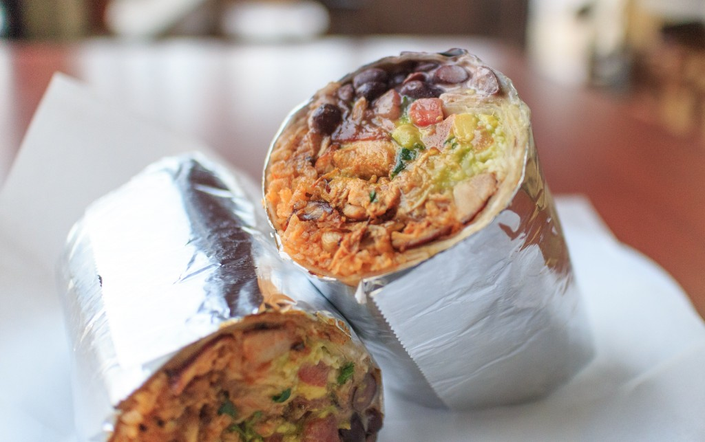 Burritos can come on a regular tortilla, spinach, wheat, and sun-dried tomato tortillas.